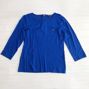 Cable & Gauge Cobalt Blue 3/4 Sleeve Sweater Sz L